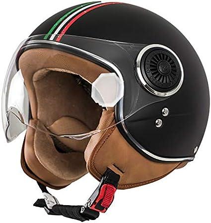 Schwarz-Italia Retro Pilot-Helm f/ür Brillen-Tr/äger Qualit/ät nach ECE-Norm Roller-Helm f/ür Frauen und Herren im Vintage-Look Motorrad-Helm XS MONACO Jet-Helm mit Visier
