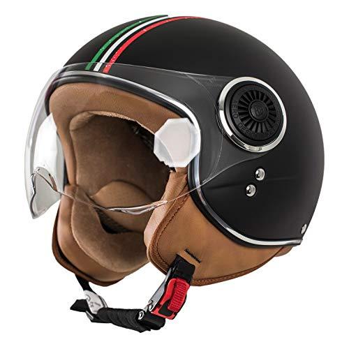 MONACO Jet-Helm mit Visier, Retro Pilot-Helm für Brillen-Träger, Roller-Helm für Frauen und Herren im Vintage-Look, Motorrad-Helm, Schwarz-Italia, Qualität nach ECE-Norm (M)