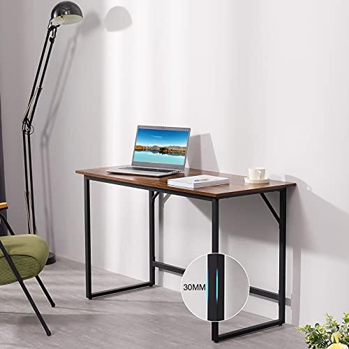 Mesa Escritorio Ordenador Computadora para Despacho Oficina y Uso Doméstico con Estructura de Acero de Metal y Diseño Industrial, Marrón Rústico y Negro, 119 x 56,4 x 75,5 cm