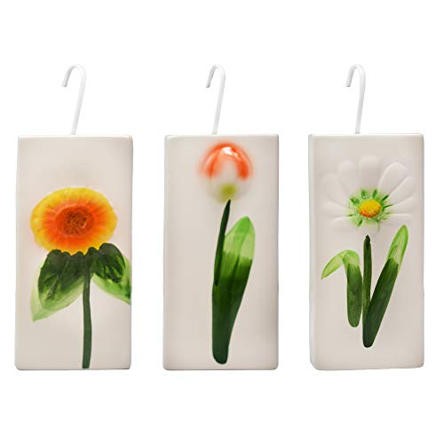 DRULINE 4er Set Luftbefeuchter Robuster Wasserverdunster für alle gängigen Heizkörper Heizungen mit verschiedenen Blumenmotiven Keramik 300ml Verdunster Verdampfer inklusive Haken