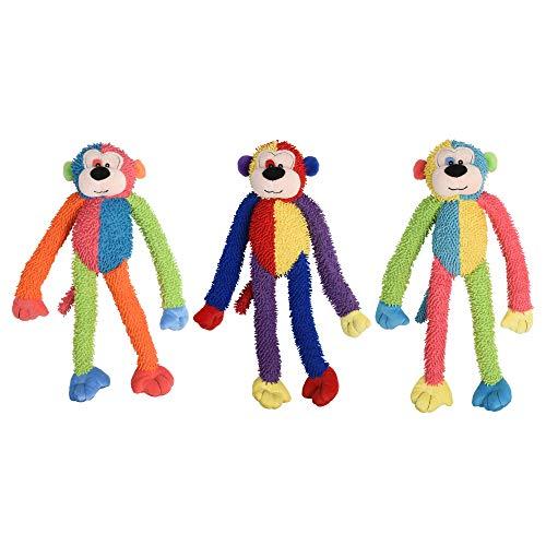 Multipet International DMP37812 Multicrew Monkey Plush Dog Toy, 17-Inch, Colors Vary
