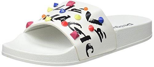 Desigual Shoes_Slide Candy, Sandalias con Punta Abierta Mujer, Blanco (1000 Blanco), 36 EU