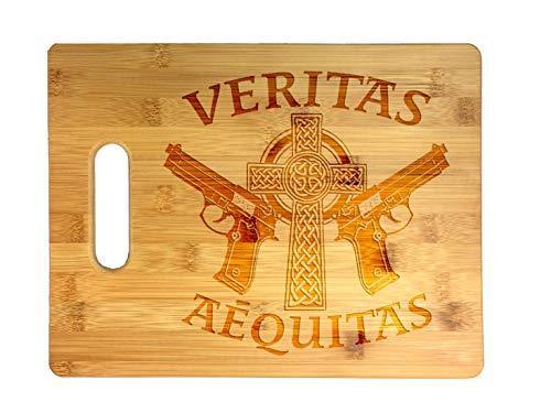 Aequitas Veritas Saints Gun Celtic Cross Laser Engraved Bamboo Cutting Board - Wedding, Housewarming, Anniversary, Birthday, Father's Day, Gift