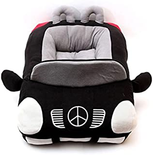 BADASS SHARKS Deluxe Cute Cozy Cool Sports Car Shaped Pet Dog Bed House Chihuahua Yorkshire Small-Medium Dog Cat House Cover Waterproof Warm Soft Puppy Sofa Kennel Black