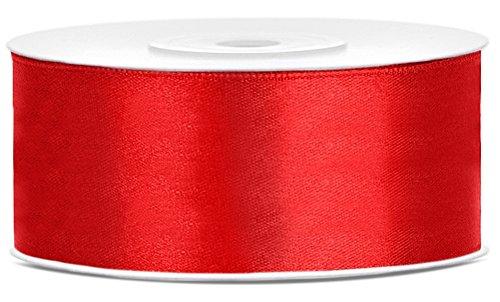 Partydeko 25m x 25mm Rolle Satinband Geschenkband Schleifenband Dekoband Satin Band (Rot (007))
