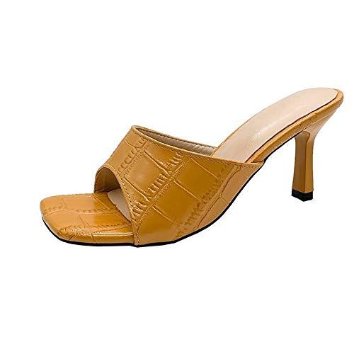 Sandalen Damen Slip-on Peep Toe High Heels Hausschuhe Einfach Elegante Slipper Einfarbige Faux Leder Outdoorsandalen Beiläufiger Mode Sexy Pantoffel Sommer Frauen Schlafzimmerschuhe