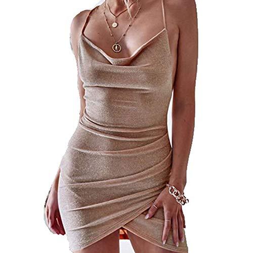 Vestido sexy de encaje de patchwork para mujer, con tiras de espaguetis, cuello en V, con escote en V, Y2K E-Girl caqui L