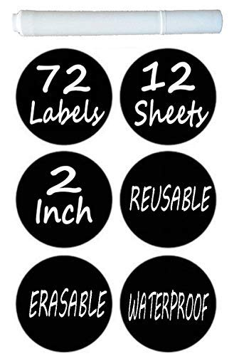 Chalkboard Labels Pack of 72 Round Chalkboard Mason Jar Lid Canning Labels Premium Labels for Glass Jars, Food Containers, Kitchen and Pantry Organizing (1.9 Inches Wide, Free White Chalk Marker)