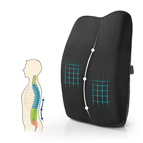 Mkicesky Lumbar Support Back Pillow for Office Chair / Car, Memory Foam Back Support Cushion with Full Posture Corrector - Relief Lower Back Pain (Black)