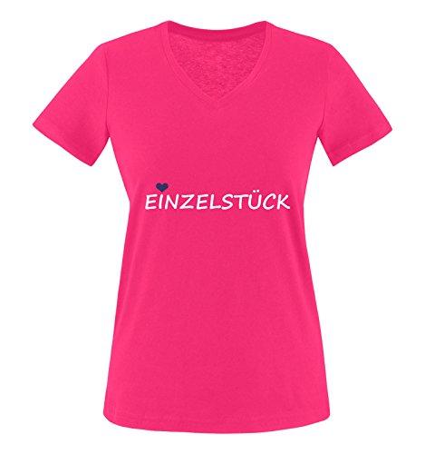 Comedy Shirts - EINZELSTÜCK - Damen V-Neck T-Shirt - Pink/Weiss-Lila Gr. M