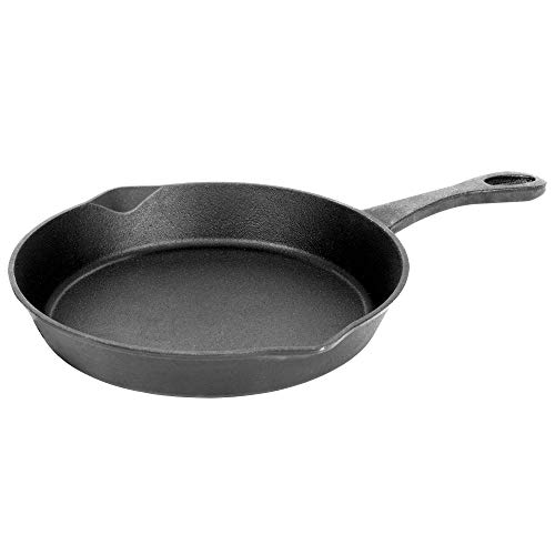 Bayou Classic 7430 8 Inch Grill Safe Broiling Seasoned Cast Iron Skillet