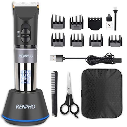 RENPHO - Cortapelos profesional para hombre con indicador LED, recortadora de pelo con estación de carga y 6 peines-guía para hombre y niño