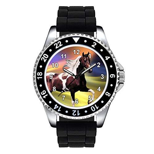 Timest - Paint Horse - Orologio da polso Unisex con Cinturino in Silicone nero Analogico al quarzo SE1244SB