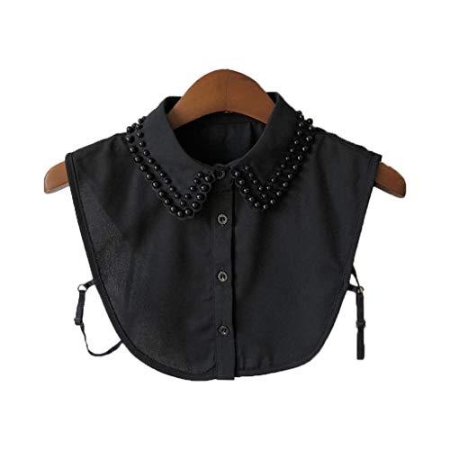 Tandou Elegante Krageneinsatz Damen Perlen Fake Kragen Blusenkragen Einsatz Bekleidung Accessoires (Schwarz)