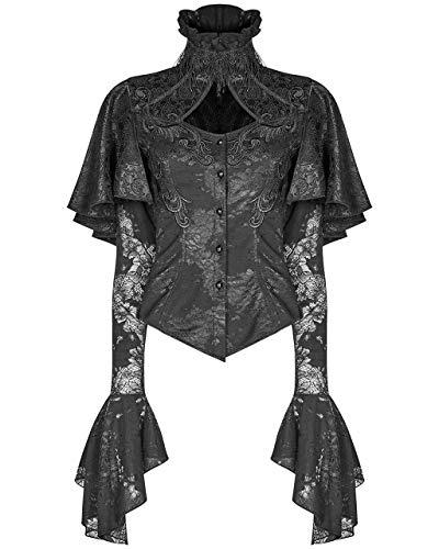 Punk Rave Elegante Bluse Victorian hochgeschlossen Rüschen (XL)
