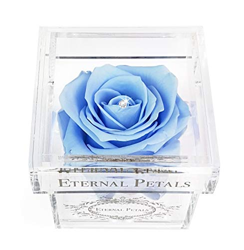 A Real Rose That Lasts A Year - White Gold Solo with Swarovski Crystal (Light Blue)