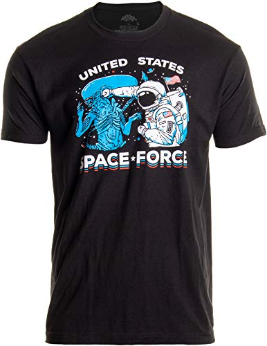 U.S. Space Force | United States American Military Alien Fight Men Women T-Shirt-(Adult,XL) Black