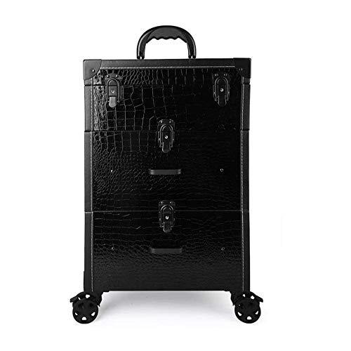 WSJTT Trois étages Chariot à Main tiroir Type Maquillage Roulant cosmétique Roues Case Barber Case Salon verrouillables manucure Case Trolley Voyage Kit Coulissant