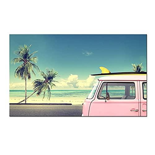Tropical Beach Wall Art Pink Van Car con tabla de surf Imagen Foto impresa en lienzo Palmera Paisaje Pintura enmarcada para la decoración del hogar