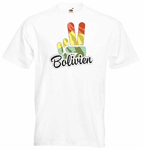 Black Dragon - T-Shirt Herren - JDM - Die Cut - weiß - Flagge - Fahne - Bolivien - Victory - Sieg - XL - Fussball Sport Boxen Fight