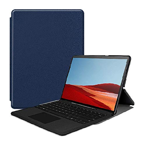 RZL PAD & TAB cases For Microsoft Surface Pro X 2019 13 Inch, Magnetic Leather Cover Protective Slim Case for Surface Pro X (Color : Dark blue)