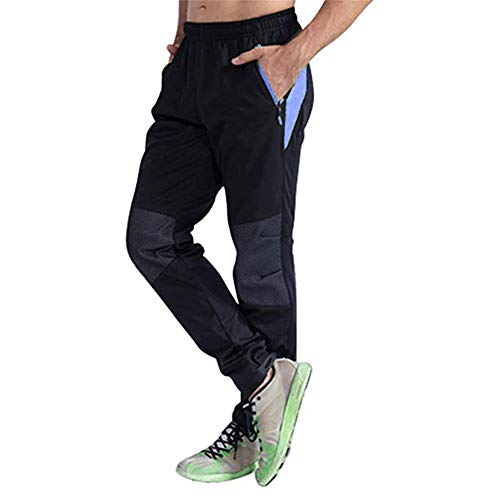 d.Stil Herren Fahrradhose Lang Fleece Windicht Winter Radhose M - 3XL (Schwarz-Blau, XL)