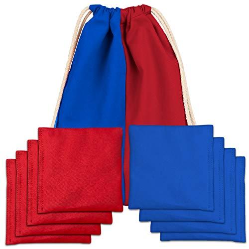 Play Platoon Premium Sitzsäcke aus Entengewebe, wetterfest, 8 Stück, 4 rot und 4 blau
