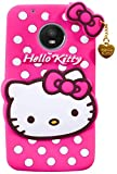 Cocklet Moto G5 Plus Hello Kitty Back Cover, Soft Silicone Rubber Back Cover with (Heart Design) Pendant Compatible for Mobile Case Moto G5 Plus - Pink Hello Kitty