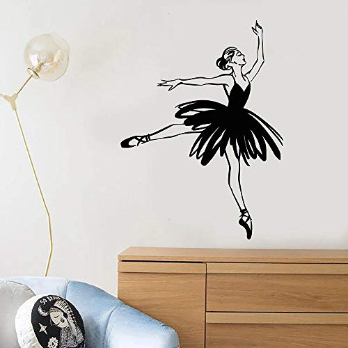 YINSHENG Autoadhesivo Negro Pegatina Abstracta Bailarina Ballet Estudio de Baile Vinilo calcomanía de Pared Pegatina patrón Decorativo decoración del hogar habitación de niños Art 57x77 cm