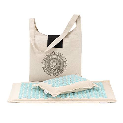 Navaris 2in1 Akupressur Massage Set - Akupressurmatte und Kissen mit Tasche - Akupressur Matte Massagematte zur Entspannung - umweltfreundlich