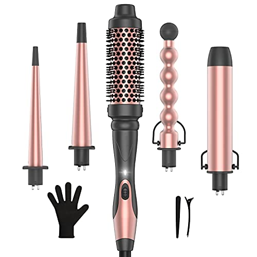 Professional 5 in 1 Curling Wand Set, Instant Heat Up Hair...