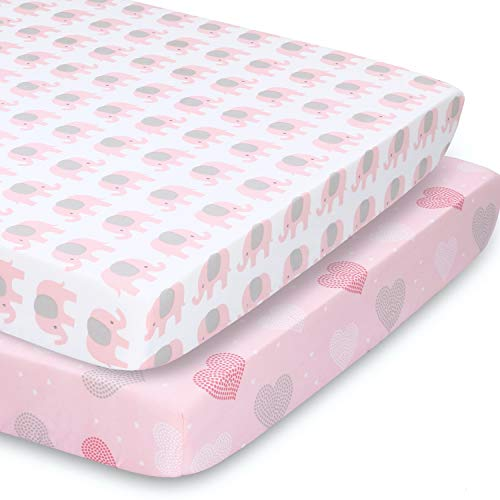 The Peanutshell Fitted Pack n Play, Playard, Mini Crib Sheets for Baby Girls | 2 Pack Set | Pink Elephants & Hearts