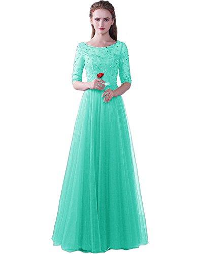 LuckyShe Damen Lang Elegant Spitze Tüll Abendkleider Festkleider mit Ärmeln für Hochzeit ED1716