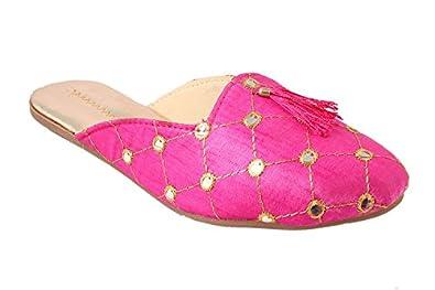 Femme Royale Rajasthani/Jaipuri/Ethnic Handmade Embroidery Sandal-Shoes-Flats for Women and Girls