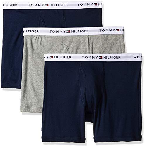 Tommy Hilfiger mens Multipack Cotton Classics Boxer Briefs underwear, Black Navy Grey, Medium US