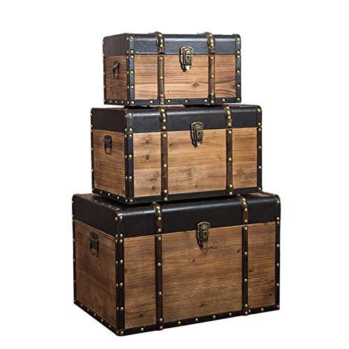 GYMEIJYG Maleta Vintage, Madera Maciza con Cerradura Asa Lateral Alta Capacidad Caja De Almacenaje Retro Adecuado para Almacenamiento Y Decoración. 3 Tamaños (Color : Brown, Size : 60x39x39cm)
