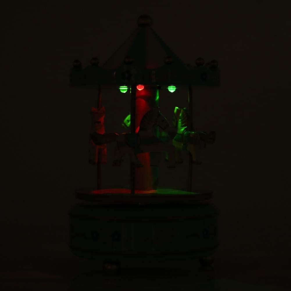 Raguso Bo/îte /à Musique man/ège carrousel /à 4 Chevaux avec Cadeau de lumi/ère Lumineuse color/ée LED pour la d/écoration de Mariage danniversaire de Mariage de No/ël Rose