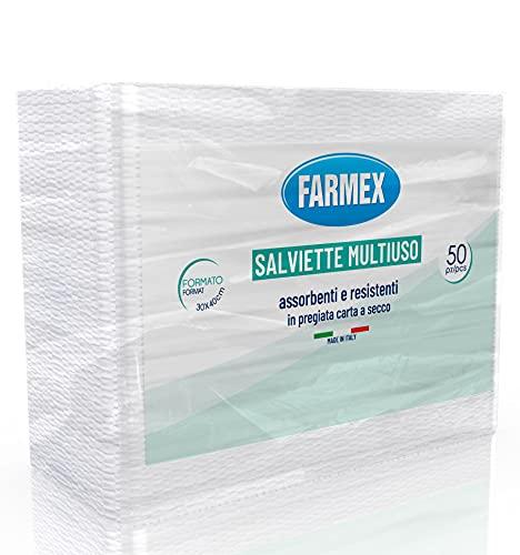 Farmex Salvietta In Carta A Secco - Asciugamani monouso con Goffratura a S Mis. 30x40 Cm - Asciugamani Usa e Getta - Carta Mani 50 pezzi