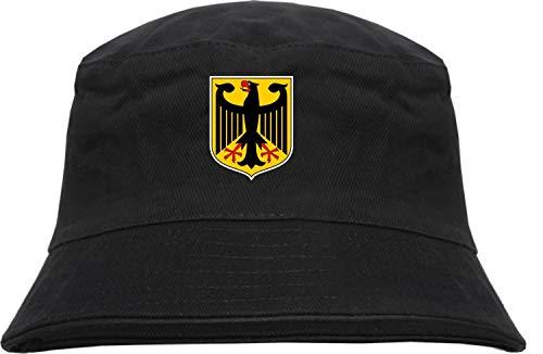 HB_Druck HB_Druck Deutschland Wappen Fischerhut - Bucket Hat S/M Schwarz