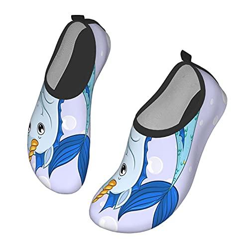 Nicokee Chaussures d'eau licorne sirène dessin animé corne d'eau de mer mamifère bleu blanc plage aqua yoga chaussettes pour homme femme - - Mul 0326, 42.5 EU