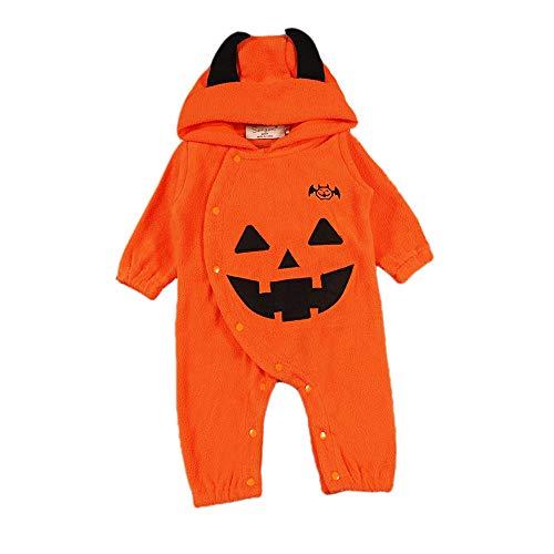 Kewing Baby Hoodie Noël Halloween Costume Combinaison Combi-Short Combinaison Garçon Fille Citrouille Diable Chaud Pyjamas Haber Orange100cm