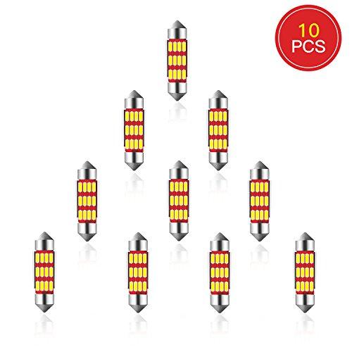 ELINKUME 10pcs 3W C5w LED Ampoule Dôme de Voiture Lampe Voiture - Lumière Voiture Pour Lampe Veilleuse Dôme Intérieur Plancher Coffre Culot Arrière Festoon Canbus LED, DC 12V, Blanc 6000K