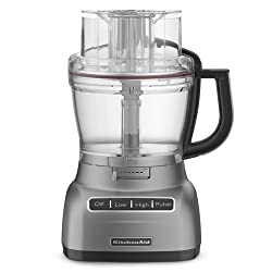 Kitchenaid 13 cup food processor in Chrome showing dials and feed chute