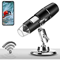 PalliPartners 1X-1000X 1080P Handheld Portable Wireless Digital Microscope with 8 LED Lights for iPhone/iPad/Smartphone/Tablet/PC