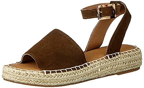 ESPRIT Leder-Sandale mit Bastsohle