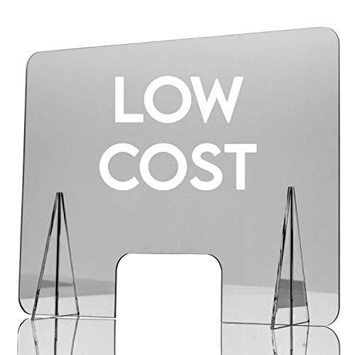 GRUPO ZONA | Mampara de Protección | Material Metacrilato | Transparente | Modelo Belfast | Buena Estabilidad | Automontable | 2 mm de Grosor | Incluye Soportes de 4 mm | 80 x 60 cm