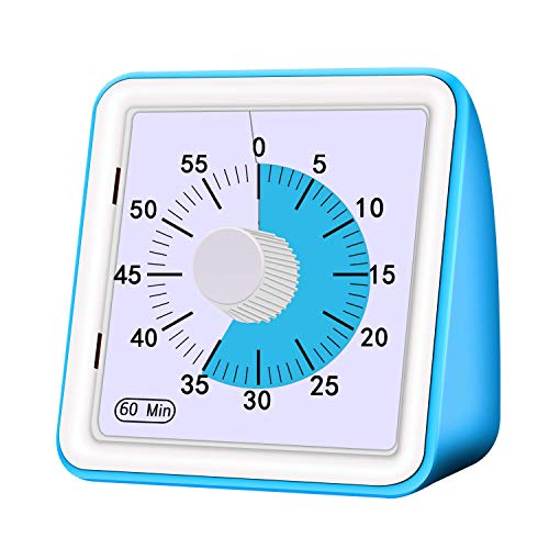 Visual Timer, Analog Countdown Timer Reading Timer Quiet Counting Time Management Tool for Kids and Adults, Meeting, Office, Classroom Teaching,Homework Games Cookings (Blue)