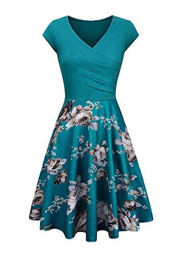 YMING Damen Slim Fit Flügelärmel Kleid Knielang Kleid Elegantes Swing Kleid Blumen/Türkis XL