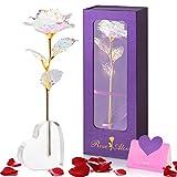 Siebwin Rosa Eterna, Rosa de Cristal con Base Tarjeta de Felicitación, Regalos San Valentin Aniversario Cumpleaños tu Mujer Madre Novia Amigas, Regalos Originales para Mujer, Regalos para Mujer