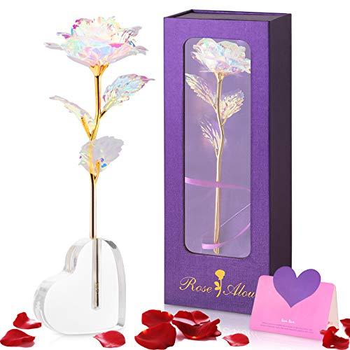 Siebwin Rosa Eterna, Rosa con Base Tarjeta de Felicitación, Regalos San Valentin Aniversario Cumpleaños tu Mujer Madre Novia Amigas, Regalos Originales para Mujer, Regalos para Mujer